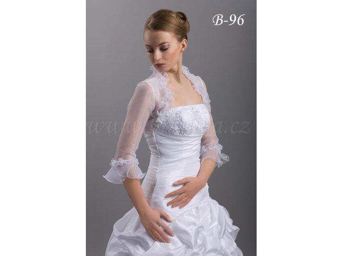 Romantické organzové svatební bolerko - bílé: B-96  SLEVA