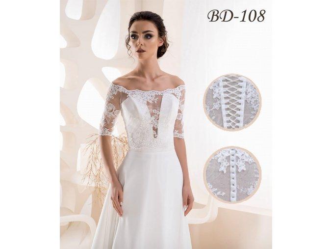 Svatební krajkový kabátek - ivory: BD-108