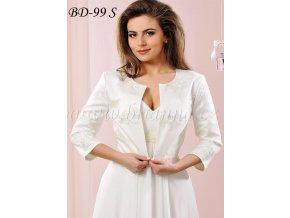 Svatební bolerko se stříbrnou výšivkou, bílé: BD-99 S  SLEVA