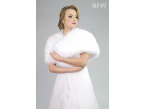 Svatební kožešinový šál - bílý: BS-01