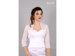 Jemný svatební krajkový kabátek - bílý: BS-10