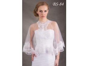 Tylová svatební pelerínka s výšivkou - ecru: BS-84