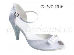 Saténové svatební boty s mašlí a štrasovou sponou - bílé