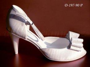 Svatební boty s mašlí - perleťově bílé (velikost 40)