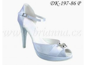 Saténové svatební boty se sponou - bílé