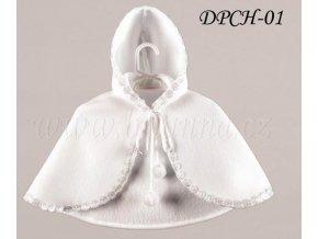 Dětská pelerínka lemovaná bílými kytičkami, bílá: DPCH-01