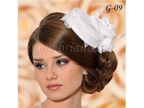 Svatební klobouček pošitý krajkou G-09 bílý,  SLEVA