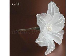 Svatební ozdoba do vlasů - květina z nylonu, bílá L-03