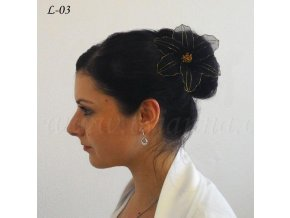 Svatební ozdoba do vlasů - květina z nylonu, černá L-03
