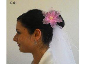 Svatební květina do vlasů z nylonu, růžová L-03