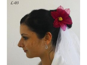 Svatební ozdoba do vlasů - květina z nylonu, červená L-03