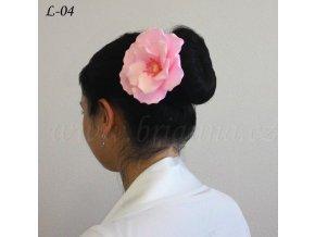 Svatební ozdoba do vlasů - květina z nylonu, růžová L-04