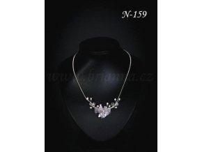 Svatební náhrdelník s drobnou průsvitnou květinou a lístky N-159