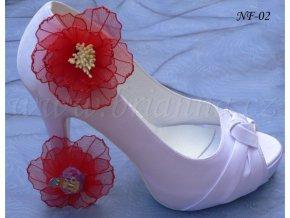 Květinové klipy na boty - červené
