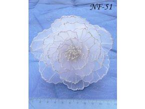 Svatební květina do vlasů z nylonu, bílá NF-51