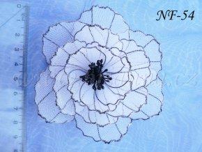 Svatební květina do vlasů z nylonu, bíločerná NF-54