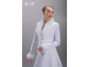 Svatební bolerko lemované peříčky Marabu, bílé: B-19