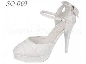 Svatební boty s brokátovým potiskem - bílé, sleva