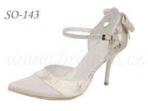 Kožené svatební boty - ecru/zlaté, sleva