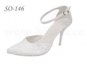 Krémové vyšívané svatební boty - sleva