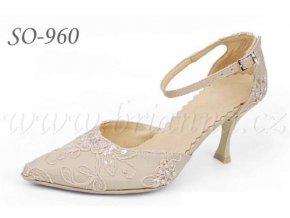 Vyšívané svatební boty - cappuccino, sleva