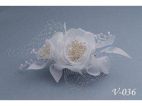 Svatební hřeben do vlasů - květinová ozdoba se síťkou V-036