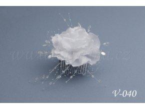 Svatební ozdoba do vlasů -  růže se síťkou V-040