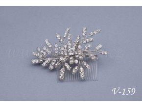 Svatební hřeben do vlasů s korálky a krystaly V-159