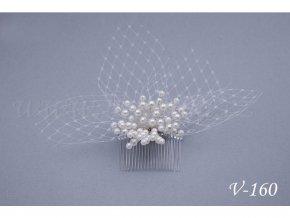 Svatební hřeben do vlasů - perličky se síťkou V-160
