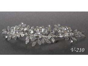 Svatební ozdoba do vlasů s lístky a krystaly V-210