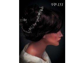 Svatební ozdoba do vlasů - štrasový pás VP-151