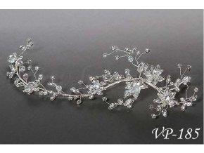 Svatební ozdoba do vlasů - štrasový svatební pás VP-185