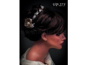 Svatební ozdoba do vlasů - květinový pás bílozlatý VP-275