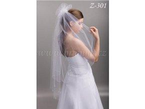 Nylonový svatební závoj Z-301 ivory, SLEVA