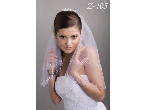 Svatební závoj s 2000 ručně přišívanými korálky Z-405 bílý SLEVA