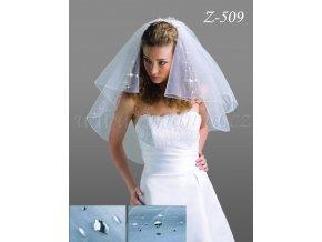 Svatební závoj s 90 velkými krystaly Z-509