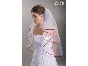 Svatební závoj s červeným saténovým lemem Z-5b