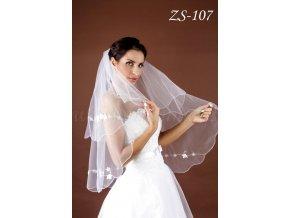 Svatební závoj s květinovou aplikací a korálky ZS-107, bílý  SLEVA