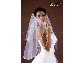 Svatební závoj s velkými krystaly ZS-44  BÍLÝ/KRÉMOVÝ