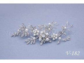 Štrasová svatební ozdoba do vlasů s perličkami  V-182