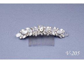 Svatební hřeben do vlasů se štrasem a krystaly V-205