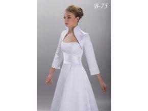 Saténové svatební bolerko s vysokým límcem - ivory: B-75