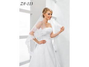 Svatební závoj s širokou krajkou  ZF-113
