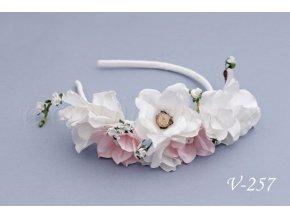 Svatební květinová čelenka V-257