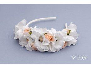 Svatební květinová čelenka V-259