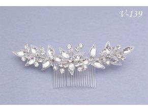 Svatební štrasová ozdoba do vlasů na hřebínku V-228