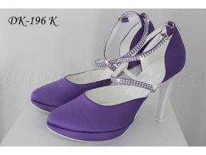 Saténové svatební boty - fialové  SLEVA