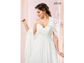 Svatební šifonový šál přes jedno rameno: SD-10, bílý SLEVA