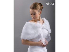 Svatební kožešinová pelerínka s mašlí z organzy - ivory: B-92