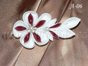 Svatební květ kanzashi, vínovobílý A-06